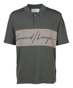 SECOND/LAYER | Logo Print Polo Shirt Large Merino