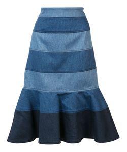 Carolina Herrera | Striped Denim Trumpet Skirt 4 Acetate/Polyester/Cotton