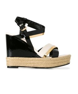Lanvin | Patent Wedge Sandals 38 Calf Leather/Leather