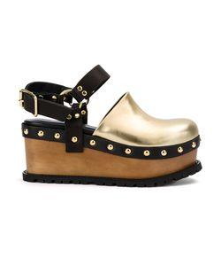 Sacai | Buckled Platform Clog Sandals 37 Rubber/Calf Leather/Patent