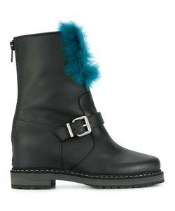 Fendi | Ботинки С Пряжками И Кроличьим Мехом