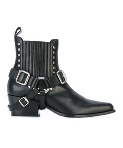 Diesel Black Gold | Buckled Ankle Boots 38 Calf Leather/Leather