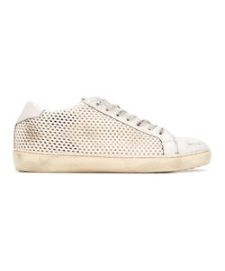 Leather Crown | Destroyed Effect Perforated Sneakers 42 Leather/Rubber