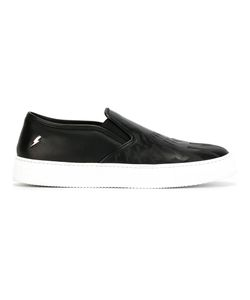 Neil Barrett | Lightning Bolt Slip-On Sneakers 43 Leather/Rubber