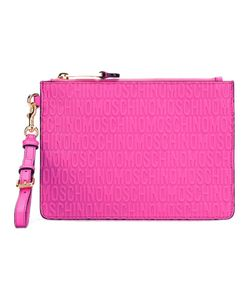 Moschino   Logo Embossed Clutch Leather