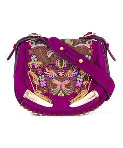 Roberto Cavalli   Embroide Shoulder Bag Leather/Cotton/Cattle Horn