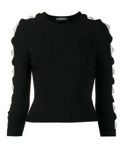 Alexander McQueen | Ribbed Cut-Out Sleeve Jumper Xs Viscose/Polyester
