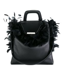 LANDI | Feather Applique Shoulder Bag Leather/Feather