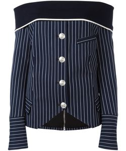 Pierre Balmain | Off-Shoulder Striped Shirt 40 Cotton/Polyamide/Spandex/Elastane/Viscose