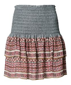 Veronica Beard | Printed Mini Ruffled Skirt 8 Silk