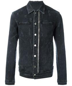 RTA | Distressed Denim Jacket Large Cotton/Polyurethane