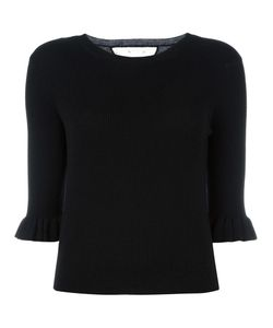 Red Valentino | Tulle Insert Ribbed Jumper Small Silk/Cashmere/Polyamide