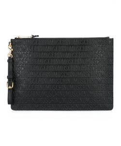 Moschino   Logo Embossed Clutch Leather/Polyester