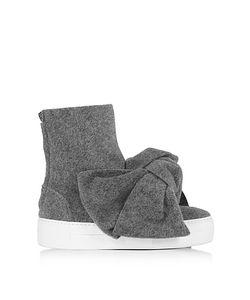 Joshua Sanders   Melange Gray High Top Bow Sneakers