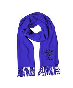 Moschino | Длинный Однотонный Шерстяной Шарф С Логотипами И Бахромой