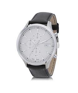 Maserati | Attrazione Серебристые Мужские Часы Хронограф Из Нержавеющей Стали С Черным Кожаным Ремешком