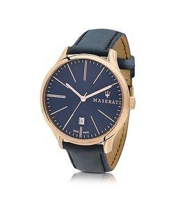 Maserati | Attrazione Часы Хронограф Из Золотистой Нержавеющей Стали С Темно-Синим Кожаным Ремешком