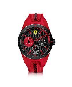 Ferrari | Red Rev T Черные Мужские Часы Из Нержавеющей Стали С Красным Силиконовым Ремешком