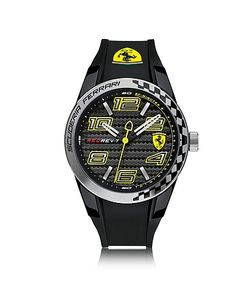 Ferrari | Rev T Серебристые Часы Из Нержавеющей Стали С Черным Силиконовым Ремешком