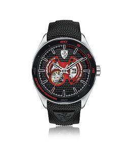 Ferrari | Gran Premio Серебристые Мужские Часы Из Нержавеющей Стали С Черным Силиконовым Ремешком