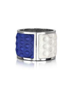Avril 8790 | Palladium Plated Brass And White And Blue Viscose Bangle