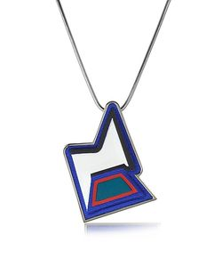 Avril 8790 | Ziggy Easy Palladium Plated Brass And Multicolor Viscose Pendant Necklace