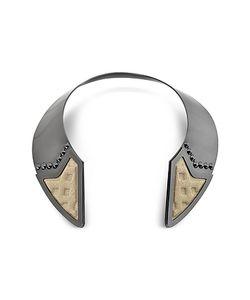 Avril 8790 | Inverted Ожерелье Из Меди С Напылением Рутения И Золотистой Вискозы