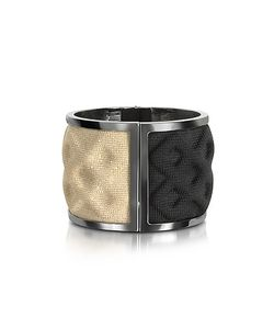 Avril 8790 | Double Ruthenium Plated Brass And Black/Gold Viscose Bangle
