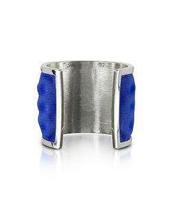 Avril 8790 | Palladium Plated Brass And Electric Blue Viscose Bangle