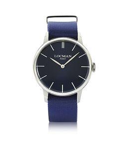 Locman   1960 Часы Из Нержавеющей Стали С Синим Ремешком Из Ткани