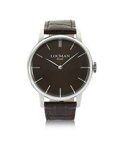 Locman   1960 Часы Из Нержавеющей Стали С Темно-Коричневым Ремешком Под Крокодиловую Кожу