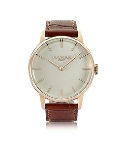 Locman   1960 Часы Из Нержавеющей Стали С Напылением Розового Золота На Коричневом Ремешке Из Кожи Под Крокодиловую