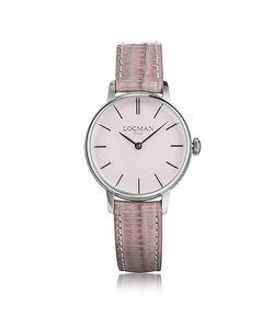 Locman   1960 Серебристые Часы Из Нержавеющей Стали С Розовым Ремешком Из Кожи Под Крокодиловую