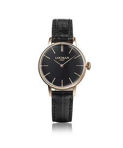 Locman   1960 Часы Из Нержавеющей Стали С Напылением Розового Золота С Черным Ремешком Из Кожи Под Крокодиловую