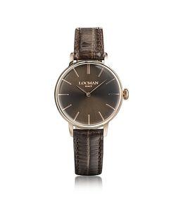 Locman | 1960 Часы Из Нержавеющей Стали С Напылением Розового Золота С Коричневым Ремешком Из Кожи Под Крокодиловую