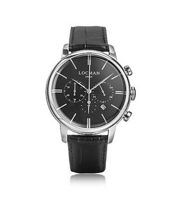 Locman   1960 Часы Хронограф Из Нержавеющей Стали С Черным Ремешком Под Крокодиловую Кожу