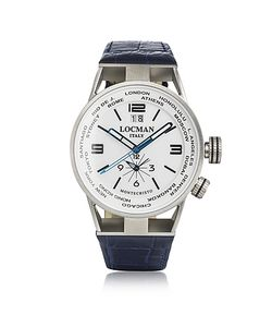 Locman | Montecristo Часы Из Нержавеющей Стали И Титана С Кожаными Ремешком И Двумя Часовыми Поясами