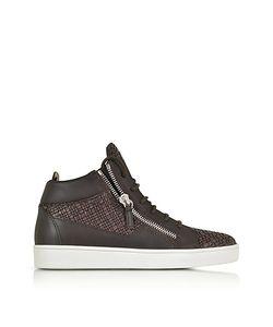 Giuseppe Zanotti Design | Dark Leather And Lizard Print High Top Sneaker