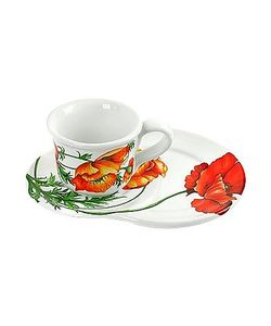 Spigarelli | Poppy Decorated Ceramic Mug And Tray