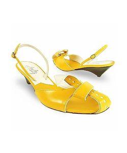 Amaltea   Lemon Front Tie Calf Leather Slingback Shoes