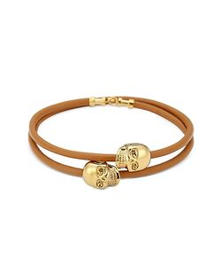 Northskull | Leather 18 Kt. Skull Double Wrap Bracelet