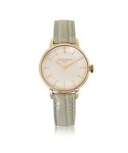 Locman | 1960 Часы Из Нержавеющей Стали С Напылением Розового Золота На Светло-Сером Ремешке Из Кожи Под Крокодиловую