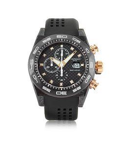 Locman   Stealth 300mt Черные Часы Хронограф Из Углеродного Волокна И Титана С Кварцевым Механизмом