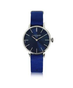 Locman   1960 Часы Из Серебристой Нержавеющей Стали С Синим Ремешком