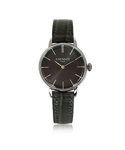 Locman   1960 Часы Из Серебристой Нержавеющей Стали С Коричневым Ремешком Из Кожи Под Питона