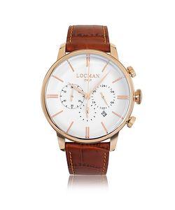 Locman   1960 Часы Хронограф Из Нержавеющей Стали С Напылением Розового Золота И Коричневым Ремешком Из Кожи Под Крокодиловую