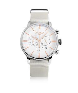 Locman   1960 Часы Хронограф Из Нержавеющей Стали С Белым Ремешком Из Ткани