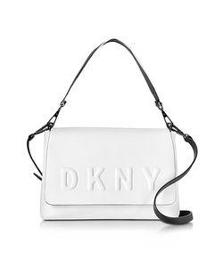 DKNY   Debossed Logo Cream Leather Flap Shoulder Bag