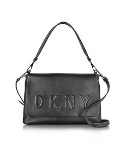 DKNY   Debossed Logo Leather Flap Shoulder Bag