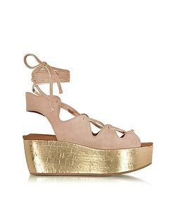 See by Chloé | Liana Suede Lace-Up Wedge Sandal
